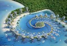 Image 34 of 47 from gallery of Vincent Callebaut Envisions Shell-Inspired Eco-Tourism Resort in The Philippines. Photograph by Vincent Callebaut Architectures Floating Architecture, Green Architecture, Concept Architecture, Futuristic Architecture, Sustainable Architecture, Beautiful Architecture, Landscape Architecture, Architecture Design, Architecture Today