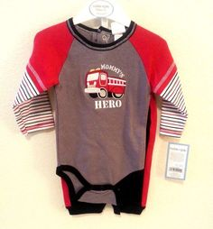 New Cutie Pie Firetruck Red Gray Black 2 Piece Set Outfit Onesie 3-6 mo Baby Boy #CutiePie #Everyday