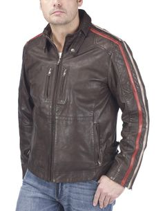 Joe Browns Men's Biker Stripe Leather Jacket: Amazon.co.uk: Clothing