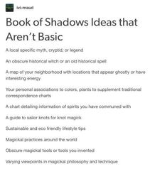 "Not sure why we're devolving to calling certain ideas ""basic"". If it works for them, you have no right. That said, here's some interesting ideas for your grimoire / book of spells. Wiccan Witch, Wicca Witchcraft, Witchcraft Tumblr, Magick Book, Green Witchcraft, Magick Spells, Grimoire Book, Witchcraft For Beginners, Witch Board"