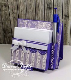 A Path of Paper: Top Tip Tuesday Duo Challenge With Easel Note Holder Tutorial/Template - Post It Note Holder with Pen - Easel Calendar - Mini Desk Calendar