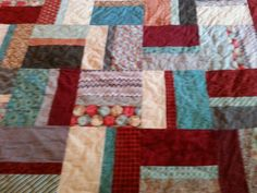 red and turquoise king size quilt by 4quiltsandmore on Etsy,