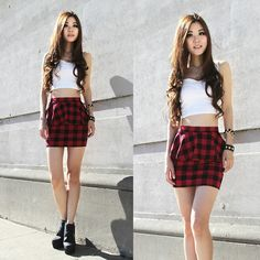 Foreign Exchange Cropped Top, Forever 21 Plaid Skrit