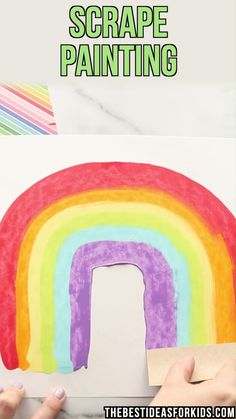 art Rainbow & Shamrock Scrape Painting Learn different scrape painting techniques for St Patrick's Day. Shamrock scrape painting and rainbow scrape painting tutorial and tips. Toddler Art, Toddler Crafts, Preschool Crafts, Kids Crafts, Yarn Crafts, Process Art Preschool, Preschool Painting, Etsy Crafts, Creative Crafts