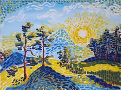 Gouache, Painting, Art, Paper, Sunrise, Stones, Kunst, Art Background, Painting Art
