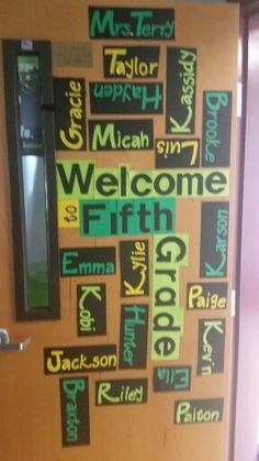 Finished!! Mrs. Terry's Back to School classroom door. 2015-16 (Classroom colors- Green, Black, Yellow. White, and Gray)