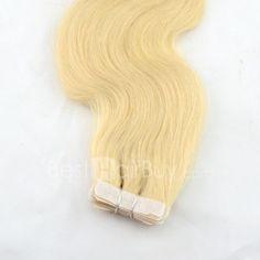20 Inch 20pcs Glossary Body Wavy Tape In Remy Hair Extensions 50g (#24 Light Golden Blonde)