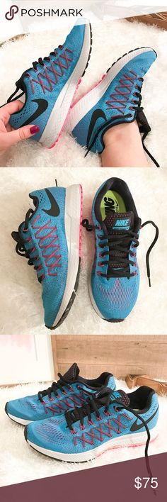 ☺ Women's Nike Air Zoom Pegasus 32 Athletic Shoe Brand New in box (no lid on box). Women's Nike athletic Air zoom Pegasus shoes in blue, worn pink drawstring embellishments for looks, and black laces. Super comfortable and form fitting.   ➡️No Trades. ➡️No Lowball Offers. ➡️No Holds. ➡️Bundle and save! Nike Shoes Athletic Shoes
