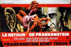 Frankenstein Must be Destroyed with Peter Cushing. Belgian movie poster. Art by RAY (Raymond Elseviers)