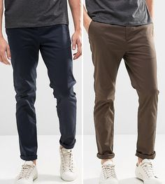 ASOS 2 Pack Slim Chinos In Navy & Brown SAVE - Multi