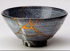 """Recently, while in Japan, I had the opportunity to take a course in Kintsugi, the practice of repairing broken pottery with lacquer and gold. Kintsugi translates as """"golden joinery"""", tho I've simply… Kintsugi, Wabi Sabi, Japanese Ceramics, Japanese Pottery, Japanese Culture, Japanese Art, Japanese Pics, Japanese Bowls, Ceramic Pottery"""