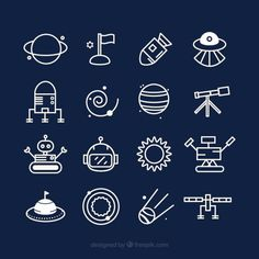 Cute space icons Free Vector