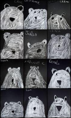 bears on a chalkboard. les ours polaires - artgora - clamart Winter Art Projects, Winter Crafts For Kids, Art For Kids, Classroom Art Projects, Art Classroom, Kindergarten Art, Preschool Art, 2nd Grade Art, Ecole Art