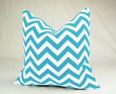 Made To Order -  Girly Blue & White Pillow Cover - 20 Inch, Chevron Zig Zag Fabric On Front And Back. $20.00, via Etsy.