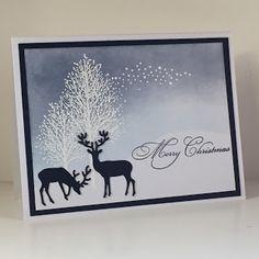 handmade Christmas card from Debbie's Designs .... winter scene ... gorgeous sky .. white embossed trees ... silhouette deer ...
