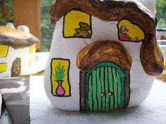 49...dolly and teddy bear now painted on this fairy house By @gennepher