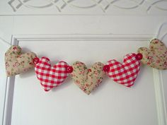 Heart Garland Red Gingham/ Ditsy Floral by RubyRedcrafts on Etsy, $10.00