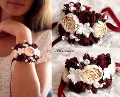 Браслет на руку с цветами из полимерной глины deco. Свадебный браслет. Браслет для невесты. Браслеты для дружек с цветами Bridal Flower , Wedding Floral Bracelet, Wedding