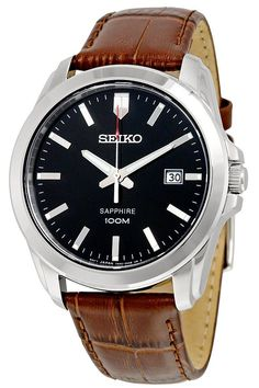 Seiko  SGEH49P2 Quartz Sapphire Black Dial Leather Band Mens Watch