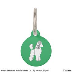 White Standard Poodle Green Custom Round Pet Tag; Abigail Davidson Art; All tags are ready to customize on the back with your pet's name and your phone number!