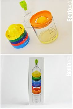 Bin 8 is a bottle with different tops for multiple uses: juicer, grater, scraper spices, egg slicer, egg white separator, jar opener, bottle opener, measuring cup and funnel.
