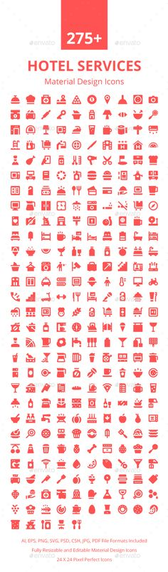 275+ Hotel Services Material Icons. Download here: https://graphicriver.net/item/275-hotel-services-material-icons/17672947?ref=ksioks