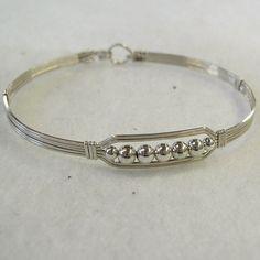 Five Little Silver Beads WireWrapped Bracelet by wiregems on Etsy