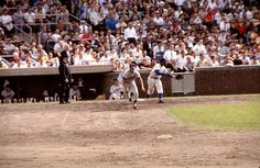 Featured above is a vintage, circa 1960's, Kodachrome 35mm Slide Transparency of in-game action between the Dodgers and Cubs.   Unfortunately, it is not dated but we do know it was taken at Wrigley Field, and by the looks of it Maury is about to steal one of the 29 bases he stole in Chicago throughout his career.  The photo was taken by noted Chicago area freelance photographer Lee Balterman.