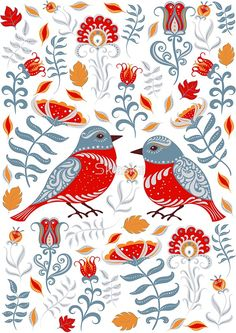 Birds and flowers. Floral ornament. Folk art. #scandinavian #folkart #tshirtdesign #tshirt #birds #skaskadesign #sticker