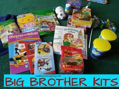 Have a new baby on the way? Treat older siblings to a big brother kit (or big sister kit) with fun things to do during those first days after delivery. Big Sibling Gifts, New Sibling, Brother Presents, Gifts For Brother, Big Brother Kit, Brother Sister, Funny Sister, Brother Birthday, Baby Shower Gifts