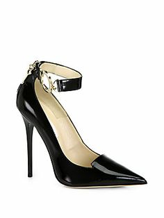 "Jimmy Choo Devote Patent Leather Handcuff Ankle-Strap Pumps Sexy.  Pretty sure I wouldn't wear these to work, but for some other ""activities"" they would do just fine."