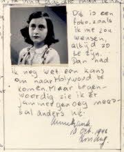 """Handwriting excerpt from Anne Frank's diary, October """"This is a photograph of me as I wish I looked all the time. Then I might still have a chance of getting to Hollywood. But now I am afraid I usually look quite different."""" Amsterdam, the Netherlands. Margot Frank, Les Innocents, S Diary, Holocaust Memorial, Memorial Museum, October 10, Persecution, Women In History, Ancient History"""