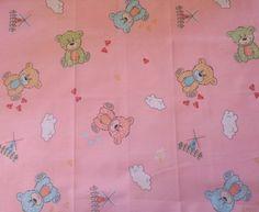 coupon tissu patchwork enfant animaux nounours romantique, bleu, rose, env. 40x50 cm