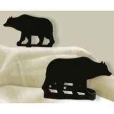 Wrought Iron Bear Curtain Tie Backs | Cabin Decor