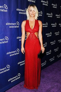 Kaley Cuoco took a cue from Miranda Kerr's skimpy Oscars 2016 afterparty look with a plunging, cutout dress on the red carpet in L.A. on March 9. Watch!