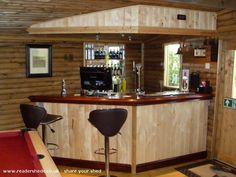 Oak Lodge, Pub/Entertainment from Chesterfield owned by Chris Johnstone Man Cave Shed, Man Cave Home Bar, Garden Bar, Garden Sheds, Pub Interior, Interior Ideas, Shed Of The Year, Pub Sheds, Bar Shed
