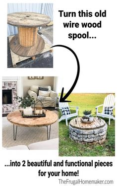Wire Spool, Wooden Spools, Wooden Spool Projects, Diy Projects, Project Ideas, Furniture Makeover, Diy Furniture, Painting Furniture, Electrical Spools