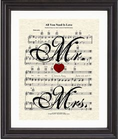 Custom, Mrs & Mrs, Names, Date, Wedding Song, First Dance, Sheet Music, Art Print, Love, Anniversary, Gift on Etsy, $20.00