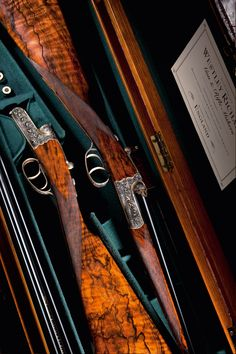"""woodburning: """" Pair of Westley Richards Droplock Guns Engraved by Vince Crowley. Side By Side Shotgun, Gun Art, Double Barrel, Fire Powers, Hunting Rifles, Guns And Ammo, Airsoft, Firearms, Hand Guns"""