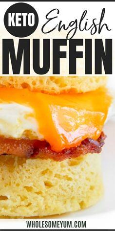 The BEST keto low carb English muffin recipe - soft & buttery inside, crusty on the outside. Just 5 ingredients + 2 minutes to make these paleo gluten-free English muffins! Low Carb English Muffin, Gluten Free English Muffins, English Muffin Recipes, Low Carb Keto, Low Carb Recipes, Real Food Recipes, Paleo, Meals, Breakfast