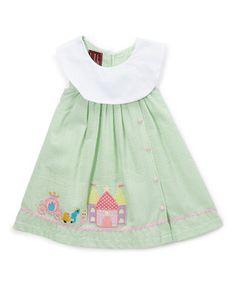 Light Green Seersucker Castle Yoke Dress - Infant, Toddler & Girls