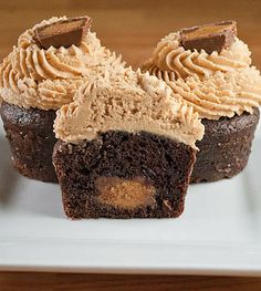 Gourmet Reese's Peanut Butter Cup Cupcakes nothing says I love you like peanut butter and chocolate. (Except diamonds)