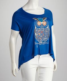 Take a look at this Royal Blue Owl Sidetail Top by Club LA on #zulily today!