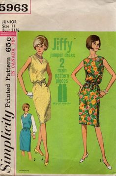 Simplicity 5963 1960s Jiffy Jumper Dress Pattern  V  Neck womens vintage sewing pattern by mbchills