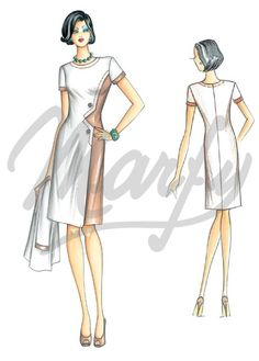 Fabric required about mt 1 50 wide 1 40 Available in sizes 42 46 50 Shades of the late 60s for this fitted dress with slightly flared skirt at hem asymmetrical panel detail and V-shaped opening to waist fastened by buttons shallow boat-neck collar and short sleeves Can be made in plain or bicolour crêpe