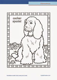 lembar kerajinan anak paud (balita/TK/SD), mewarnai anjing cocker spaniel