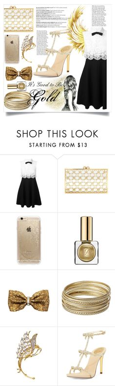 """It's Good to be Gold"" by purrplemeow ❤ liked on Polyvore featuring Balmain, Valentino, Charlotte Olympia, Rifle Paper Co, Estée Lauder, ZuZu Kim, Steve Madden, Anja, René Caovilla and goldsandals"