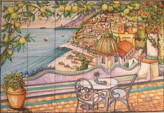 The Terrace View of Positano - A stunning hand-painted tile mural, unique and lovely! Contact us for size and pricingm, thank you!