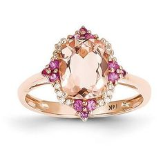 - Metal Material: Rose Gold (solid) - Average Weight: - Open Back - Genuine Diamond - Genuine Pink Sapphire - Genuine Morganite Width of mm Ring Top Ring Top Bling Bling, Pretty Rings, Beautiful Rings, Jewelry Rings, Fine Jewelry, Gold Jewelry, Luxury Jewelry, Jewlery, Helix Jewelry