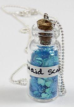 Mermaid Scales Bottle Necklace-mermaid scales necklace, bottle necklace, vial, silver plated ball chain